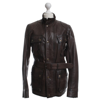Belstaff Brown leather jacket with belt