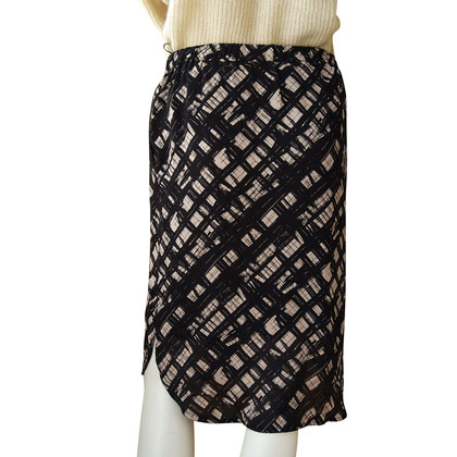 Bruuns Bazaar Silk midi skirt with black and white pattern