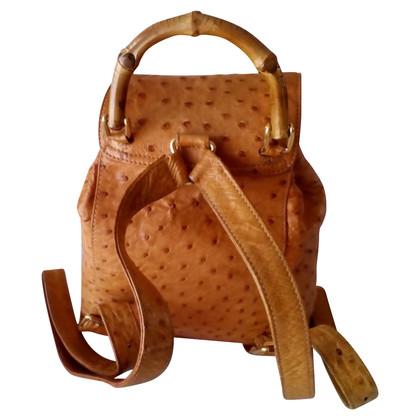 Gucci « Sac à dos en bambou » en cuir d'autruche