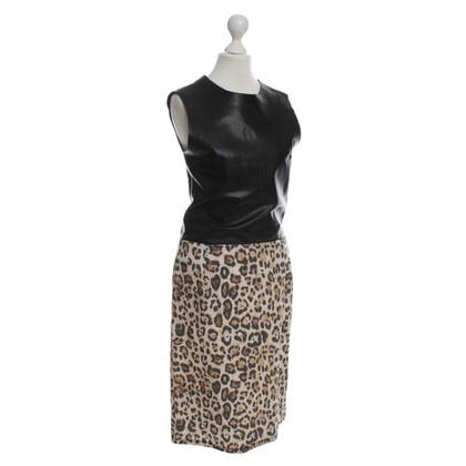 Rika Schede jurk met bovendeel van leder