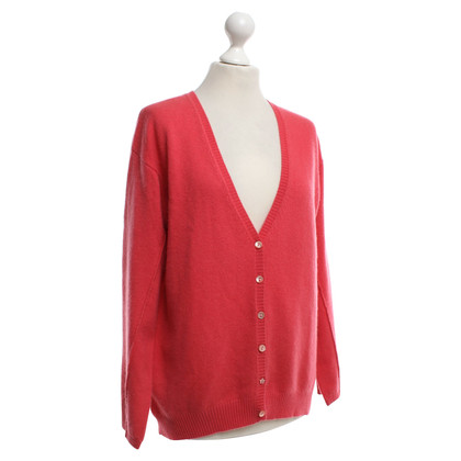 Bloom Cashmere cardigan in coral red