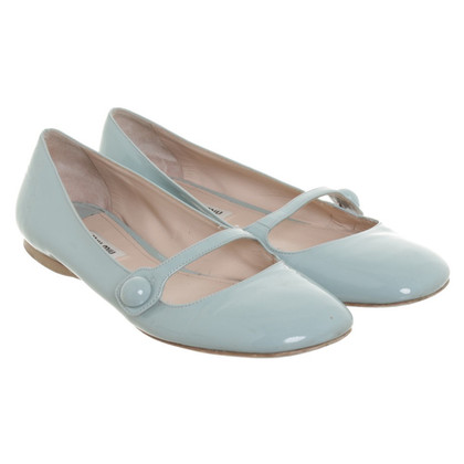 Miu Miu Blue patent leather ballerinas