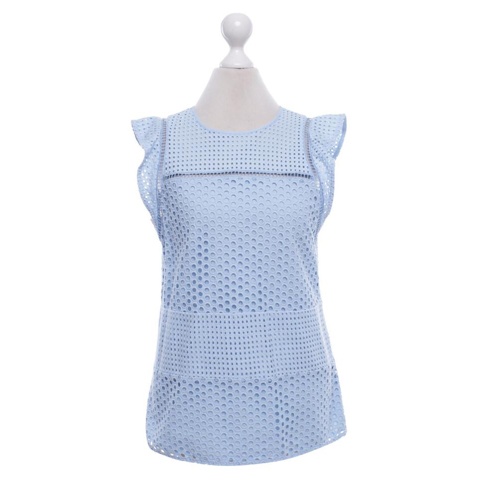 michael kors hellblaue bluse mit lochspitze second hand michael kors hellblaue bluse mit. Black Bedroom Furniture Sets. Home Design Ideas