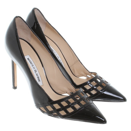 Manolo Blahnik Schwarze Lackleder-Pumps