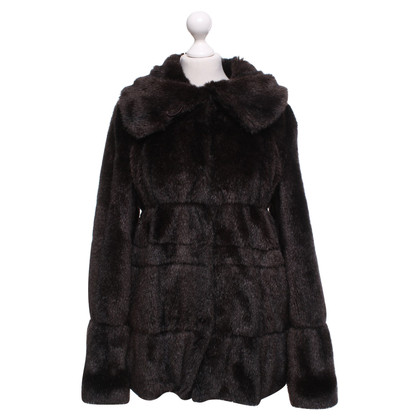 Armani Collezioni Faux fur coat in dark brown