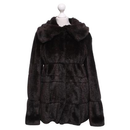 Armani Collezioni cappotto di pelliccia Faux in marrone scuro