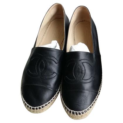Chanel Chanel Espadrilles Gr.39 schwarzes Leder