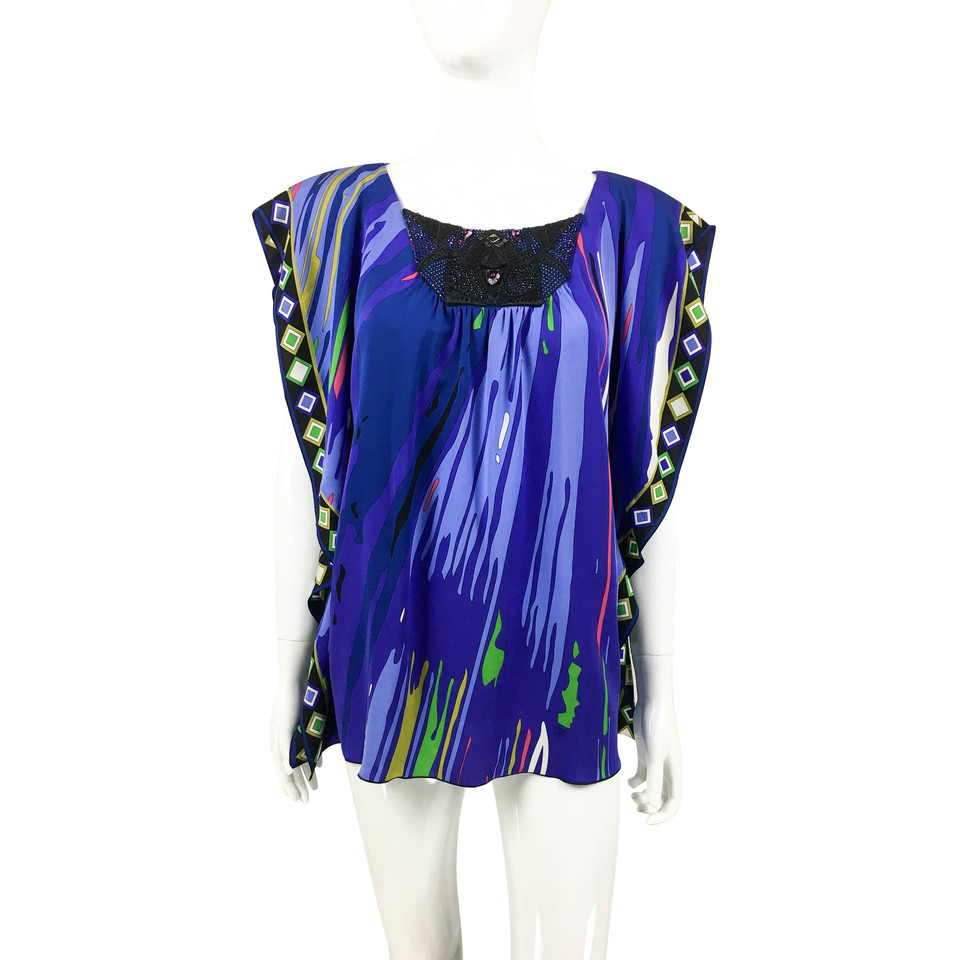 Emilio Pucci Embellished Printed Silk Jersey Blouse