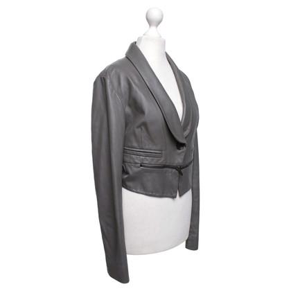 BCBG Max Azria Veste en cuir en gris