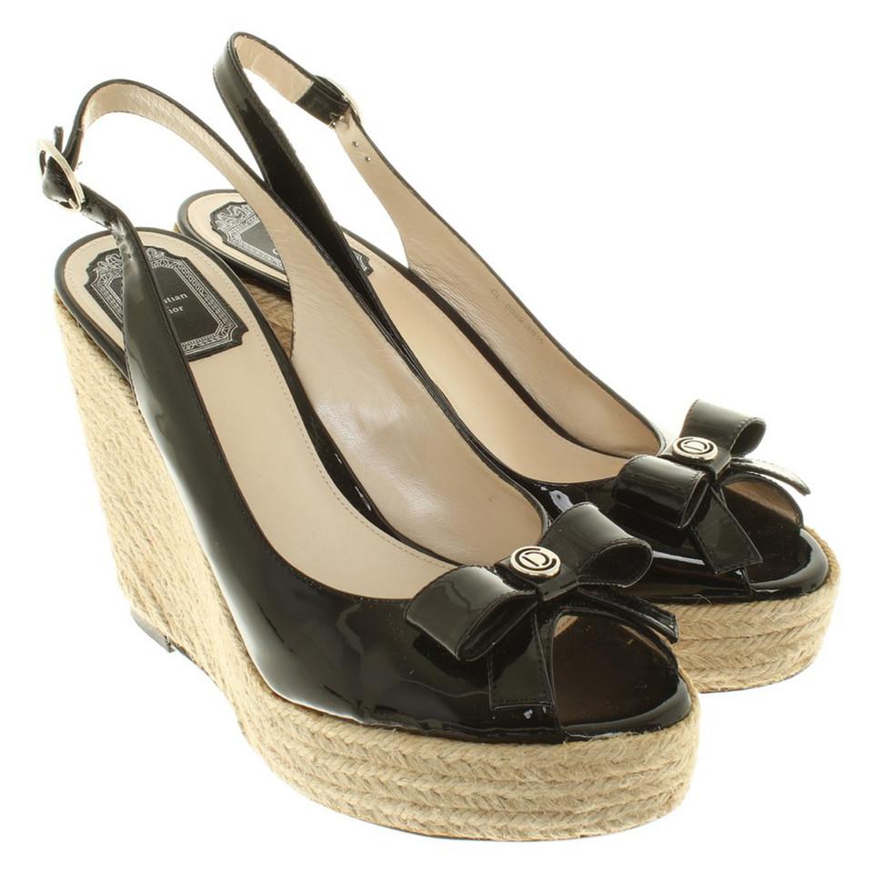 christian dior sandaletten mit keilabsatz second hand. Black Bedroom Furniture Sets. Home Design Ideas