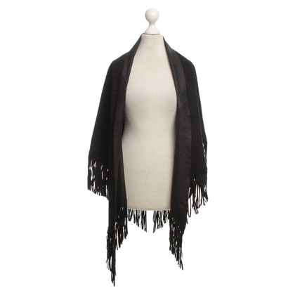 Arma Leather poncho with tassels