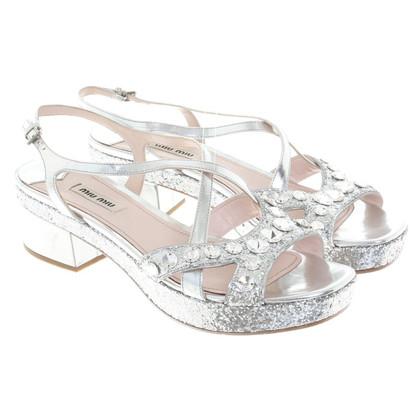 Miu Miu Zilverkleurige sandalen
