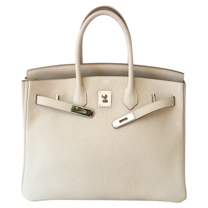 "Hermès ""Birkin Bag 35 Clémence Leather Craie PHW"""