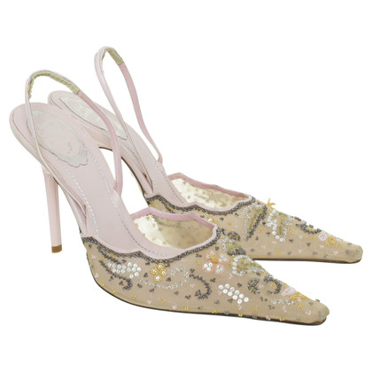 René Caovilla Slingback Pumps with embroidery