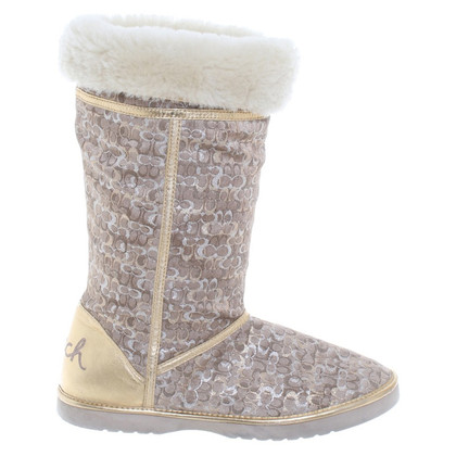 Coach Patterned boots with fur