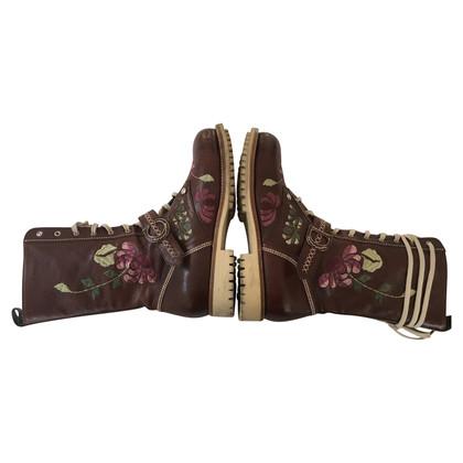 Christian Dior Lace-up laarzen met borduurwerk