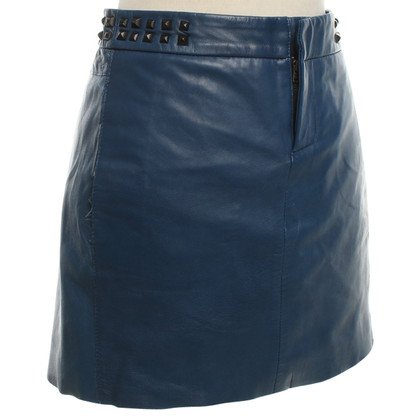 Maje Leather skirt in blue