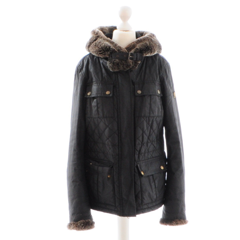 belstaff winterjacke mit fellkapuze second hand belstaff. Black Bedroom Furniture Sets. Home Design Ideas