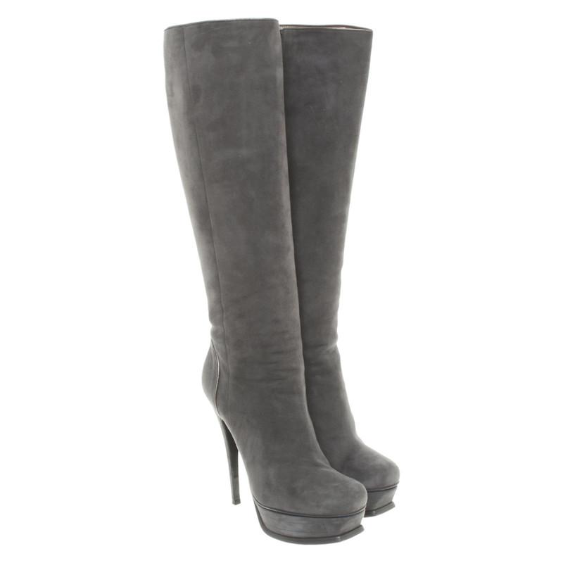 Yves Saint Laurent Stiefel aus Leder Schwarz Größe 38