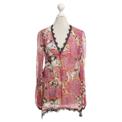 Just Cavalli Silk blouse with floral pattern