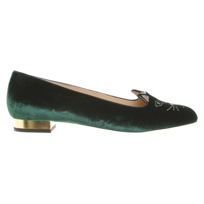 "Charlotte Olympia ""Kitty Flats"" in verde scuro"