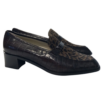 Russell & Bromley Croc Leather & Leopard print Loafers