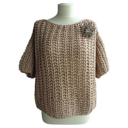 Brunello Cucinelli Chunky knit sweater with brooch