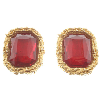 Chanel Earclips with large gemstones