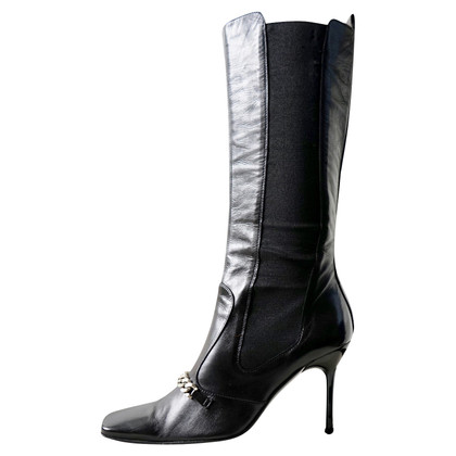 Dolce & Gabbana Black leather chain boots