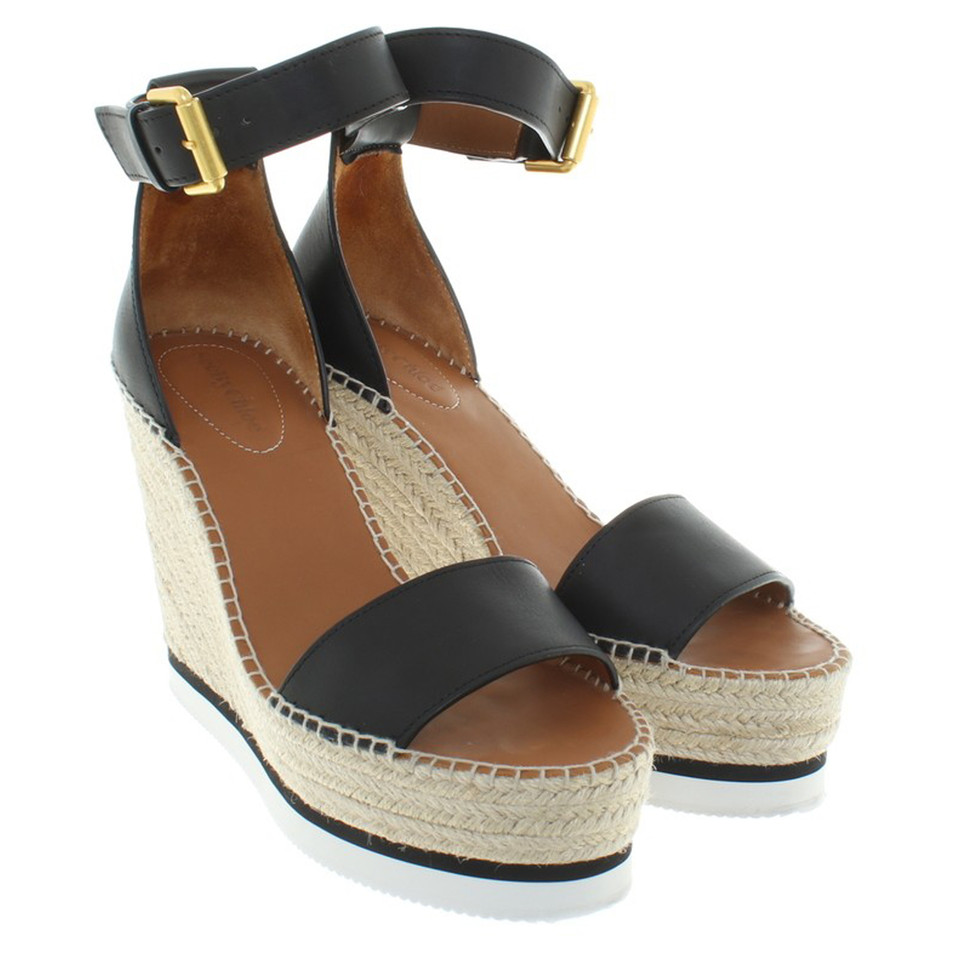 see by chlo wedges in schwarz second hand see by chlo wedges in schwarz gebraucht kaufen f r