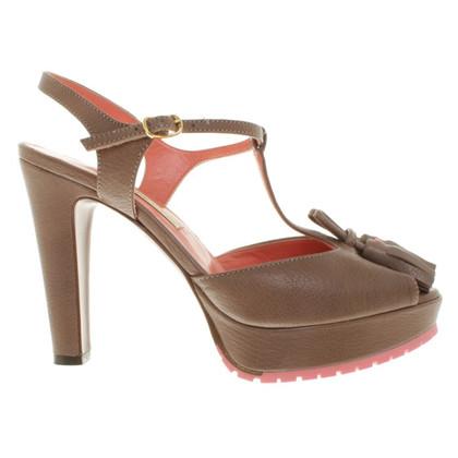 L'autre Chose Platform sandals in taupe