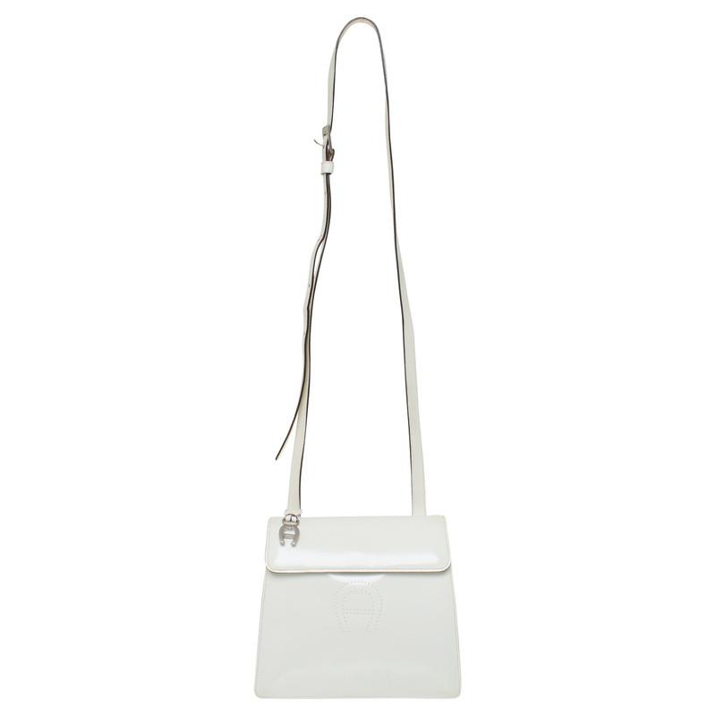 Aigner Leder Umhängetasche in Weiß