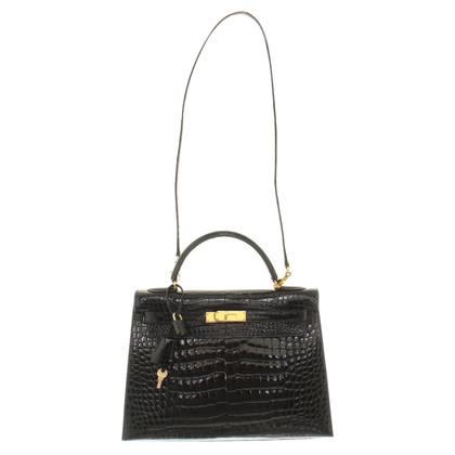 "Hermès ""Kelly Bag 32 crocodile leather"" in black"