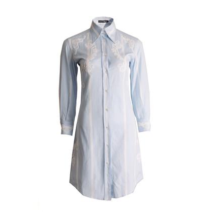 Dolce & Gabbana blue shirt dress with lace details