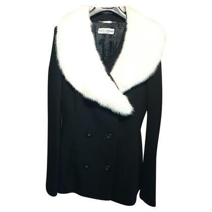 Dolce & Gabbana Giacca blazer con pelliccia di visone
