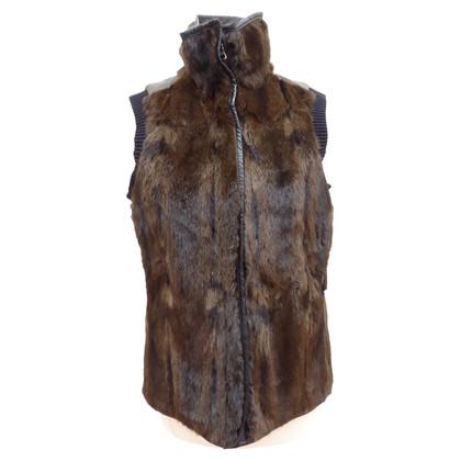 Prada maglia della pelliccia con pelle / Knit
