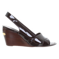Louis Vuitton Brown patent leather wedges