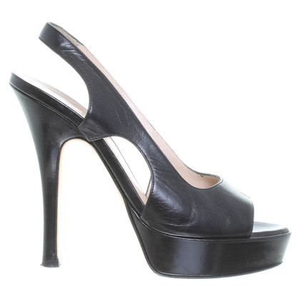 Bally Slingback-Peeptoes in Schwarz