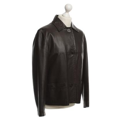 Max Mara Leather jacket in dark brown