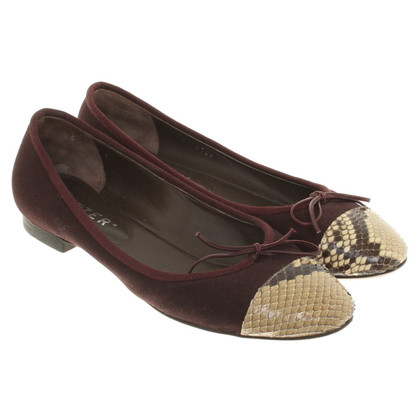 Unützer Ballerinas with reptile leather