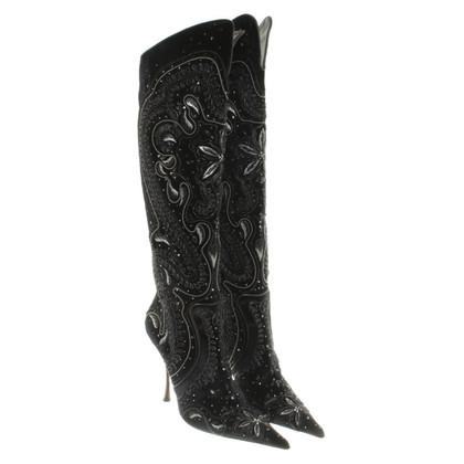 Gianmarco Lorenzi Stivali di velluto con applicazioni