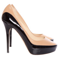 Jimmy Choo black/camel colored platform pumps