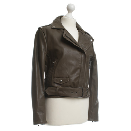 Muubaa Leather jacket in olive green