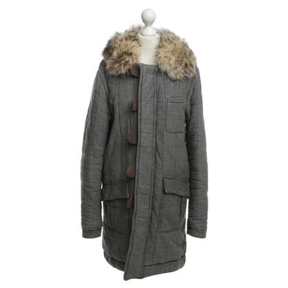 Balenciaga Leichter Mantel mit Fellkragen