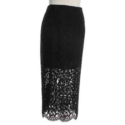 Sandro skirt with lace trimming in black