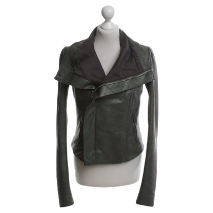 Rick Owens Leather jacket in green