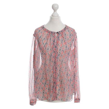 Armani Jeans Blusa in seta rosa/blu