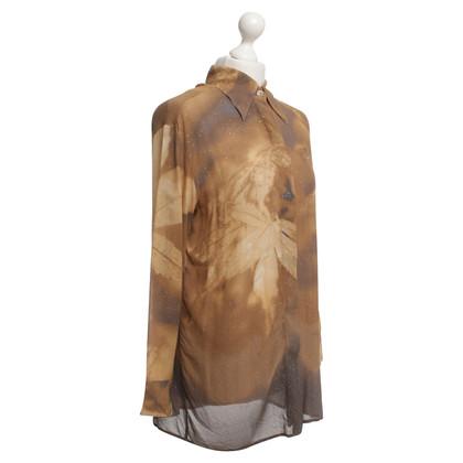 Roberto Cavalli Transparent blouse in ocher