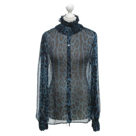 Dolce & Gabbana Seidenbluse mit Print Bunt / Muster