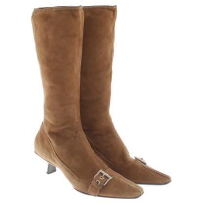 Prada stivali di camoscio in marrone